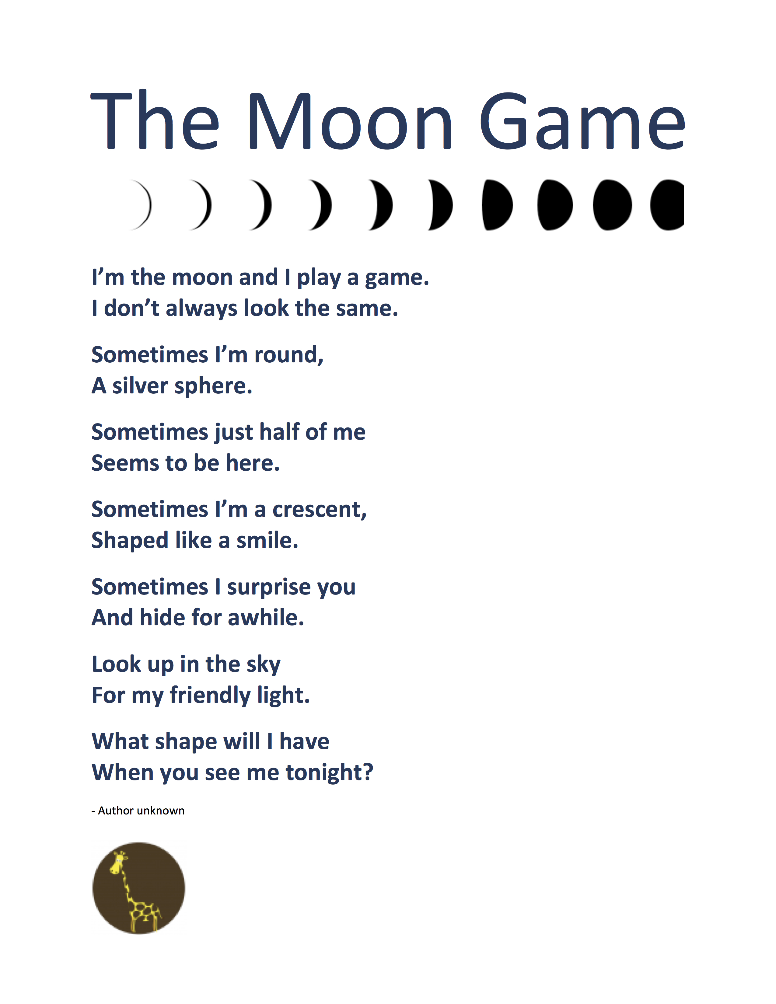 Calendar Poems For Kindergarten : Poem flashcards the moon game phases of