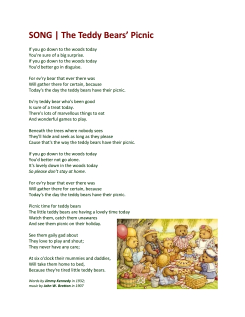 SONGS   The Teddy Bears' Picnic   Guybrarian