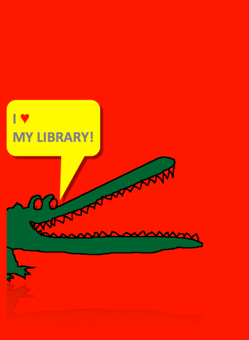 I LOVE MY LIBRARY - CROC WITH SHADOW